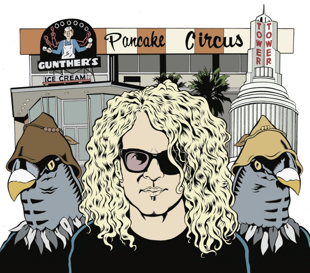 Drawing of Anton Barbeau next to anthropomorphic birds in hats. Pancake circus restaurant is in the background