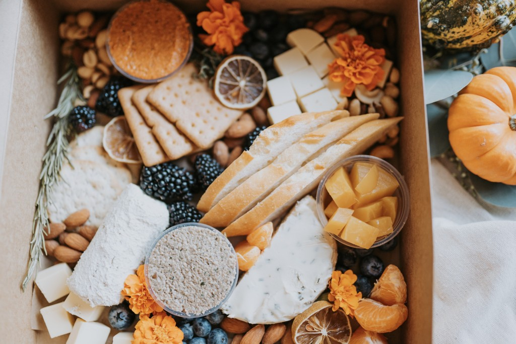 "Photo shows a vegan ""charcuterie"" boxes from The Dancer's Pantry"