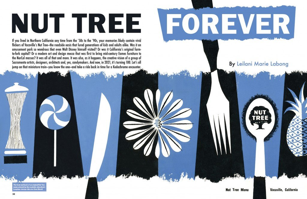 Sactown Nut Tree Opening Spread; an image of an original Nut Tree menu cover