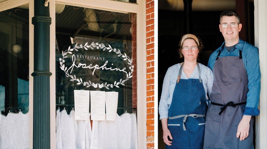 The window of Restaurant Josephine, which features the restaurant logo; married co-owners Courtney McDonald and Eric Alexander