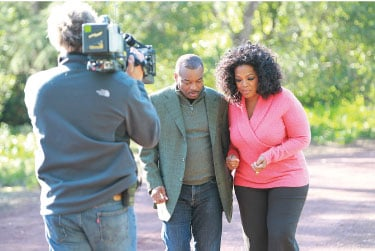 LeVar Burton talks (and walks) with Oprah Winfrey about the seminal miniseries, Roots, at her Montecito estate.