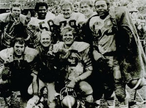 "The legendary 49ers offensive line (dubbed ""The Protectors"") in 1970, including Forrest (bottom left) and tackle Len Rohde (top left)"