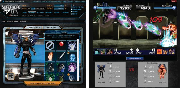 "Computer images for the video game Superhero City, which was the first hit for KlickNation and allows users to build their own characters and fight other players. ""It was the very first game on Facebook with animated battle sequences,"" says Otero."