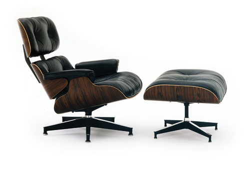 The famous Eames Lounge Chair and Ottoman—a 1956 version is in the permanent collection of New York's Museum of Modern Art (Photo by by Earl Woods, courtesy of Herman Miller)