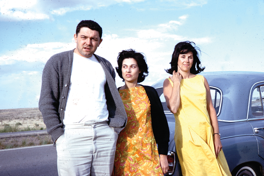 Mel, Leta and Betty Jean Thiebaud in 1963 during a road trip from Sacramento to New York (Wayne Thiebaud took the picture). (Photo courtesy of Mel Ramos)