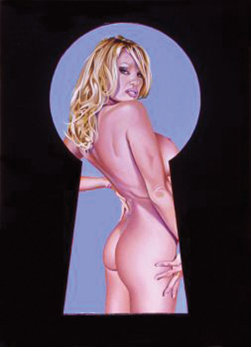 """Peek-A-Boo Pamela Anderson,"" the painting the actress commissioned but never paid for. (Image courtesy Louis K. Meisel Gallery)"