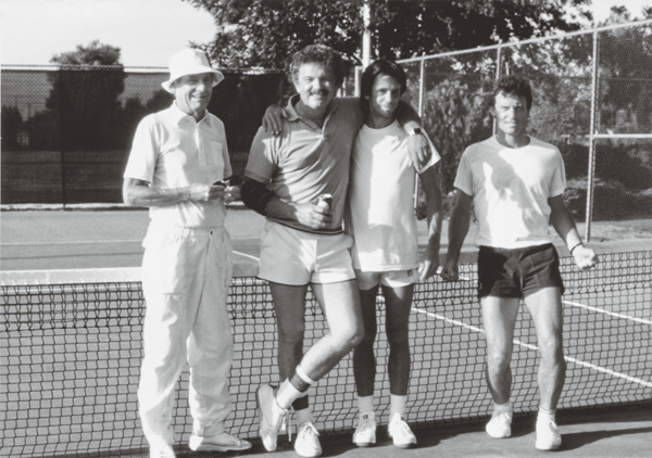 Mel with Thiebaud (far left) and Thiebaud's sons Matt Bult and Paul Thiebaud in the early '90s (Photo courtesy of Mel Ramos)
