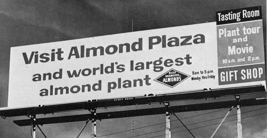 A 1966 billboard on I-80 in Sacramento touts Blue Diamond's then new plant tour. (Photo Courtesy of The Center for Sacramento History)