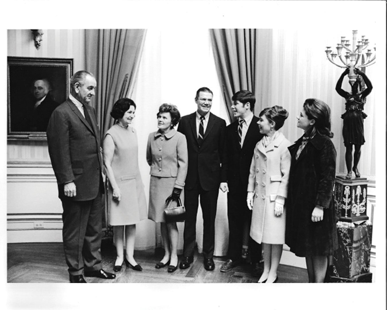 Craig McNamara (third from right) in 1968 at the White House on the day that President Lyndon B. Johnson awarded his father Robert McNamara (fourth from right) the Medal of Freedom. Joining them for the occasion were, from left to right, Lady Bird Johnson, his mother Margaret, and his sisters Margy and Kathleen.