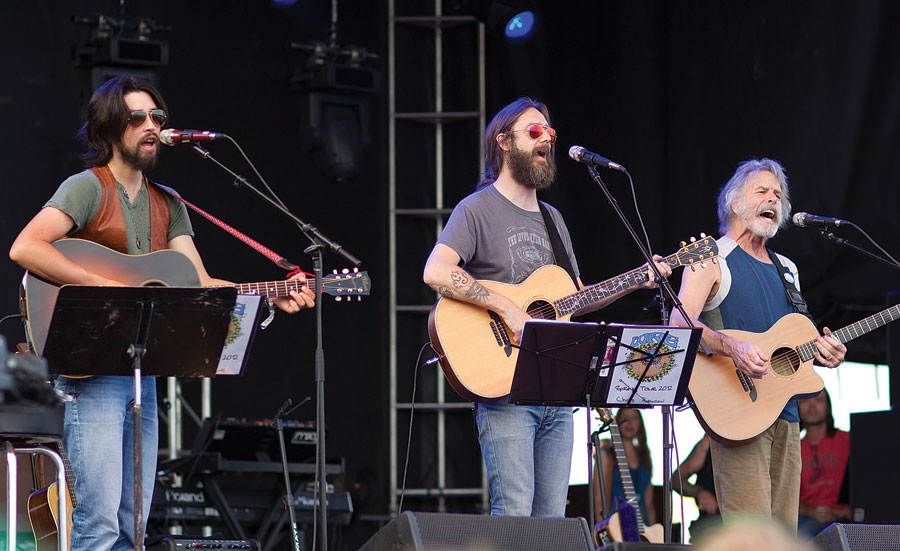 From left: Jackie Greene, The Black Crowes' Chris Robinson, and Bob Weir, founding member of the Grateful Dead, perform last May in Chillicothe, Illinois. (Photo by Mike Wulf/Newscom/Cal Sport Media)