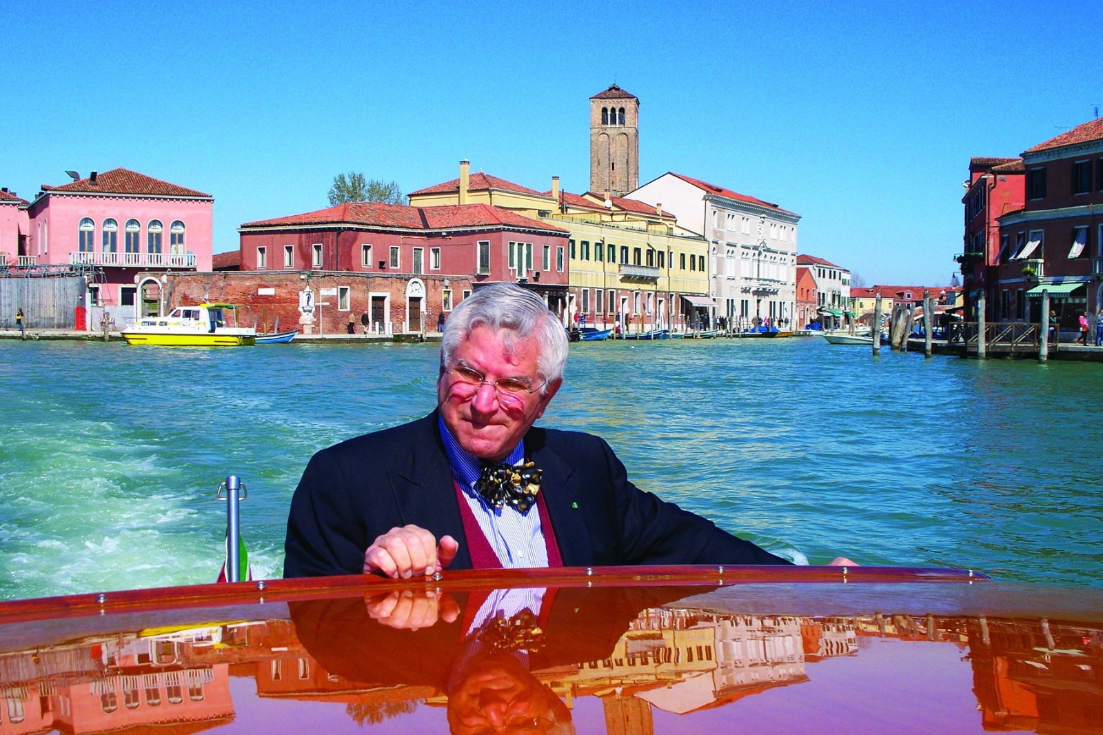Corti riding a taxi boat through Venice, Italy from the airport last March (Photo courtesy of Darrell Corti)
