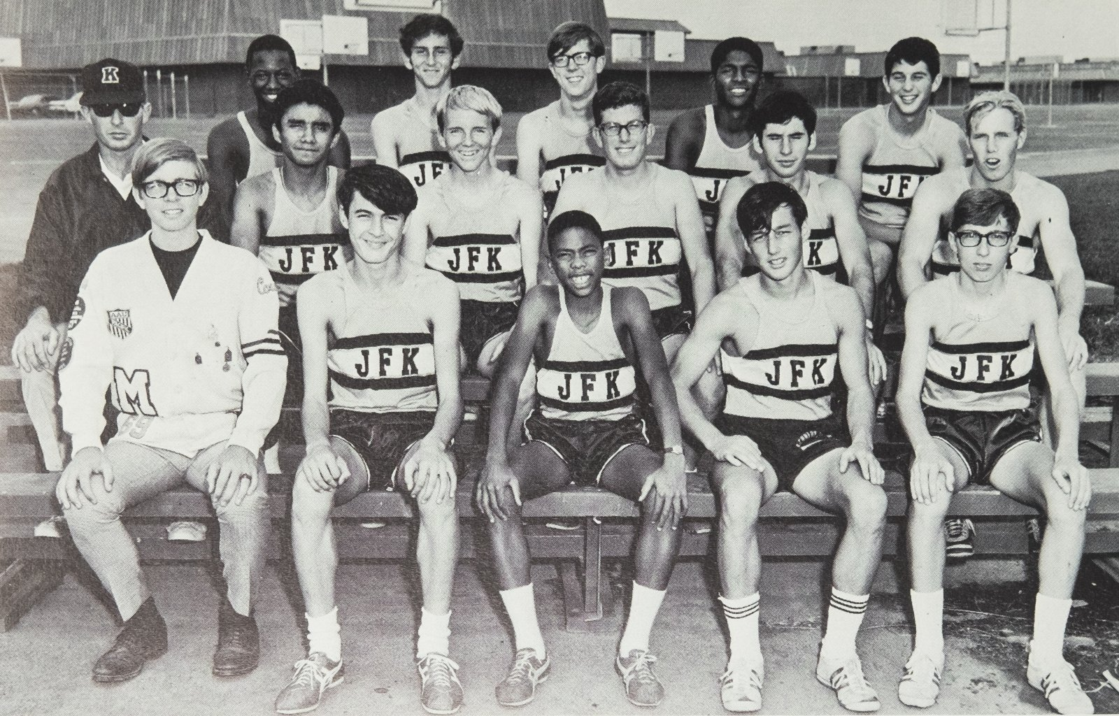 West, front row center, with the rest of the school's cross country team in 1969 (Photo courtesy of John F. Kennedy High School)