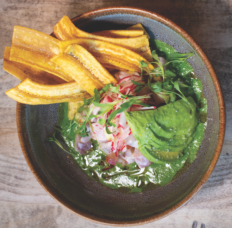 Rock cod ceviche with gently spiced purée and plantain chips (Photo by Chantel Elder)