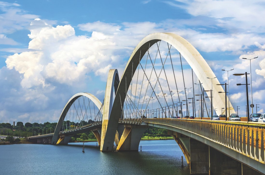 The Juscelino Kubitschek Bridge in Brasília, Brazil was completed in 2002 after a global competition was held to determine its design. The architect was Alexandre Chan. (Photo from Shutterstock)