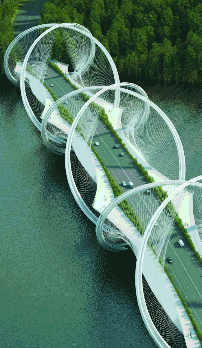 A rendering of the proposed San Shan Bridge in China by Penda. The inspiration for the span, intended for the 2022 Olympic Winter Games in Beijing, was the Olympic rings. (Rendering courtesy of Penda)