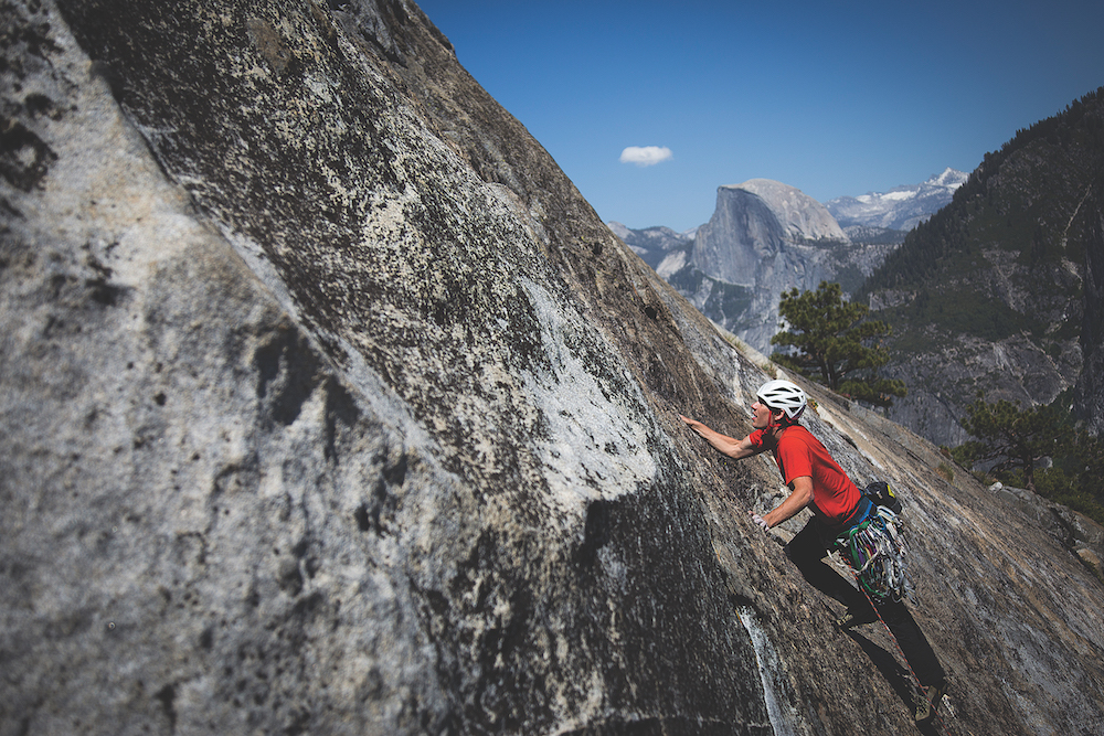 Honnold climbs the Tangerine Trip route on El Capitan on June 3. (Photo by Max Whittaker)