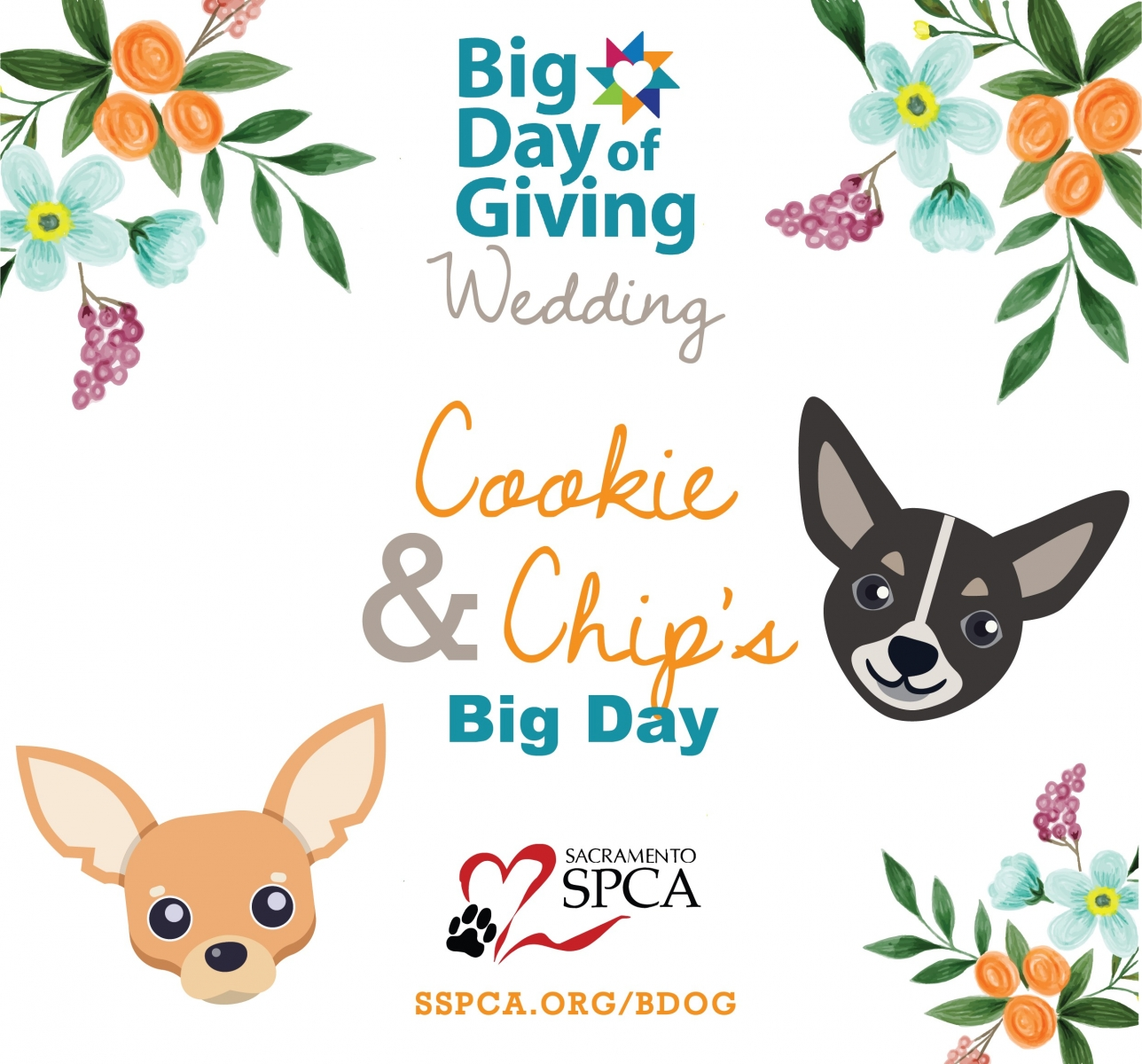 Shelter pups Cookie and Chip join one another in matrimony for a special fundraising ceremony for the Sacramento SPCA. (Graphic courtesy of Sacramento SPCA)