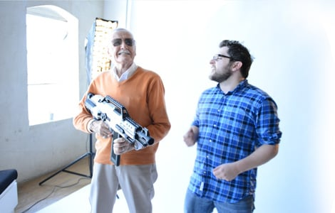Spider-Man co-creator Stan Lee behind the scenes with Elevendy co- founder Wil Wells this past June. (Courtesy of Elevendy)