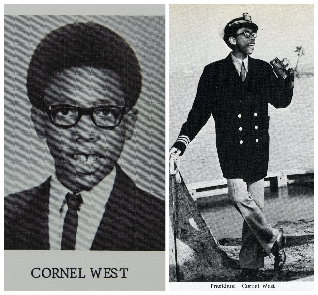 In his Kennedy High School senior yearbook from 1970, West looks studious in his official portrait (left), but shows an early flair for showmanship in his nautical-themed portrait as class president (right). (Photos courtesy of John F. Kennedy High School)