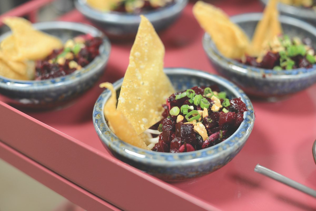 Vegan beet poke with green onions, bean sprouts, seaweed and house-made wonton chips (Photo by Ryan Donahue)
