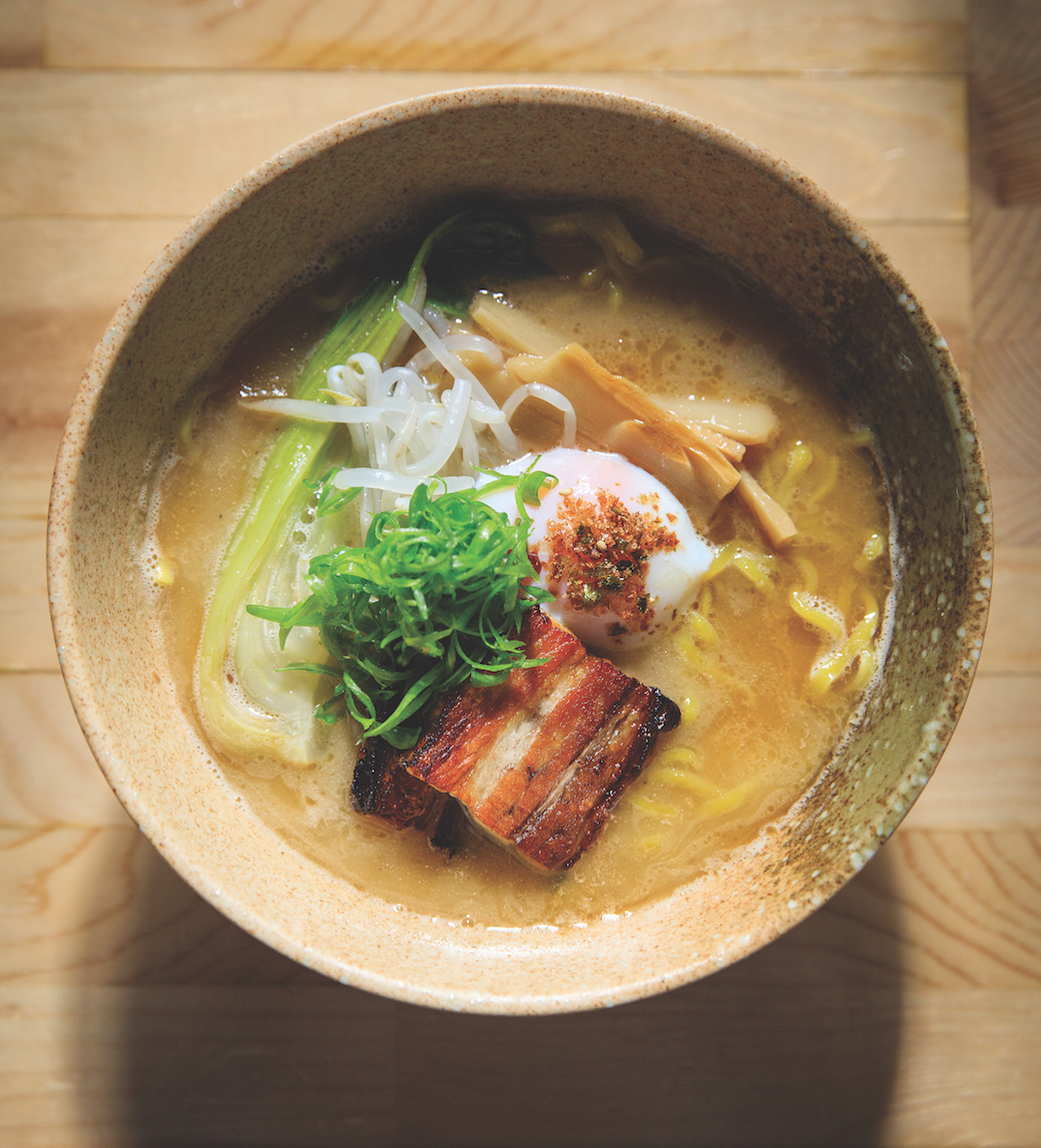Kru's pork ramen topped with pork belly, bamboo shoots, slow-poached egg, green onions and bean sprouts; Billy Ngo's new ramen bar, Kodaiko, will also feature pork-based noodle bowls. (Photo by Max Whittaker)