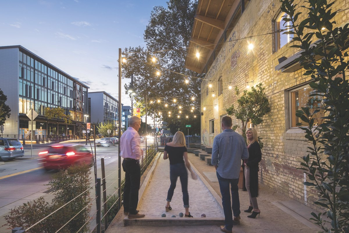 A bocce ball court offers guests of Beast & Bounty that rare opportunity to indulge in a little urbane outdoor recreation in the central city. (Photo by Chad Davies)