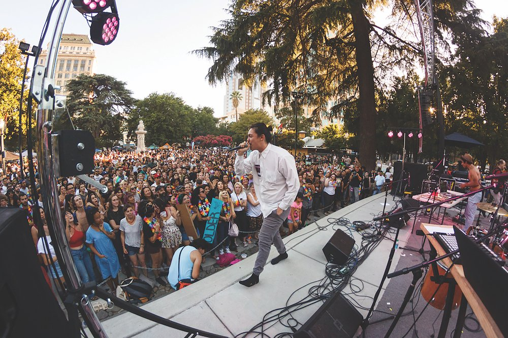Hobo Johnson & the Lovemakers perform at Concerts in the Park in 2017. The group will return to the CIP stage at Cesar Chavez Plaza this June before appearing at other summer music festivals like Bonnaroo and Lollapalooza. (Photo by Cam Evans)