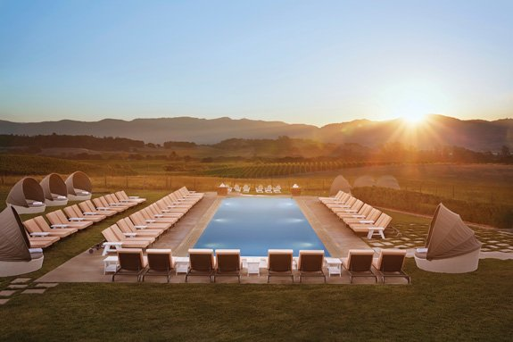 The adults-only swimming pool at the luxe Carneros Resort and Spa overlooks a picture-perfect slice of the Napa landscape. (Photo courtesy of the Carneros Resort and Spa)