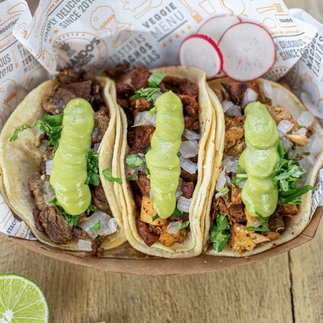 Enchiladas, sopes and, of course, tacos take center stage at Chando's Tacos' weekly live show. (Photo courtesy of Chandos Tacos)