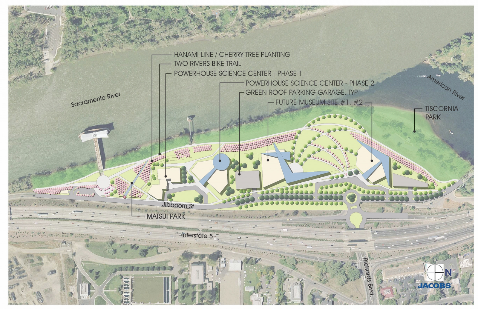 An early conceptual rendering of Confluence Park features riverfront museums and open space. (Rendering courtesy of Jacobs)