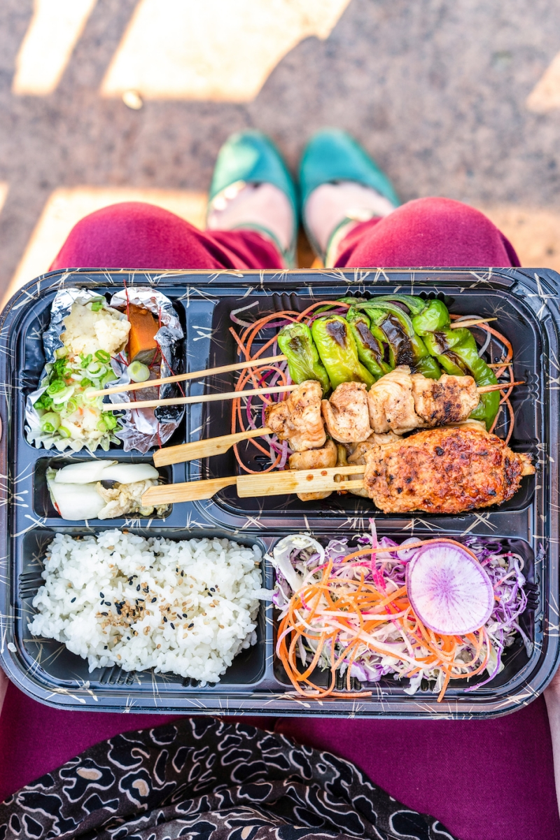Kizuna Bento will serve bento boxes with items like grilled free-range chicken skewers in sweet soy tare sauce and house-made pickles. (Photo by Ate 6 Media)