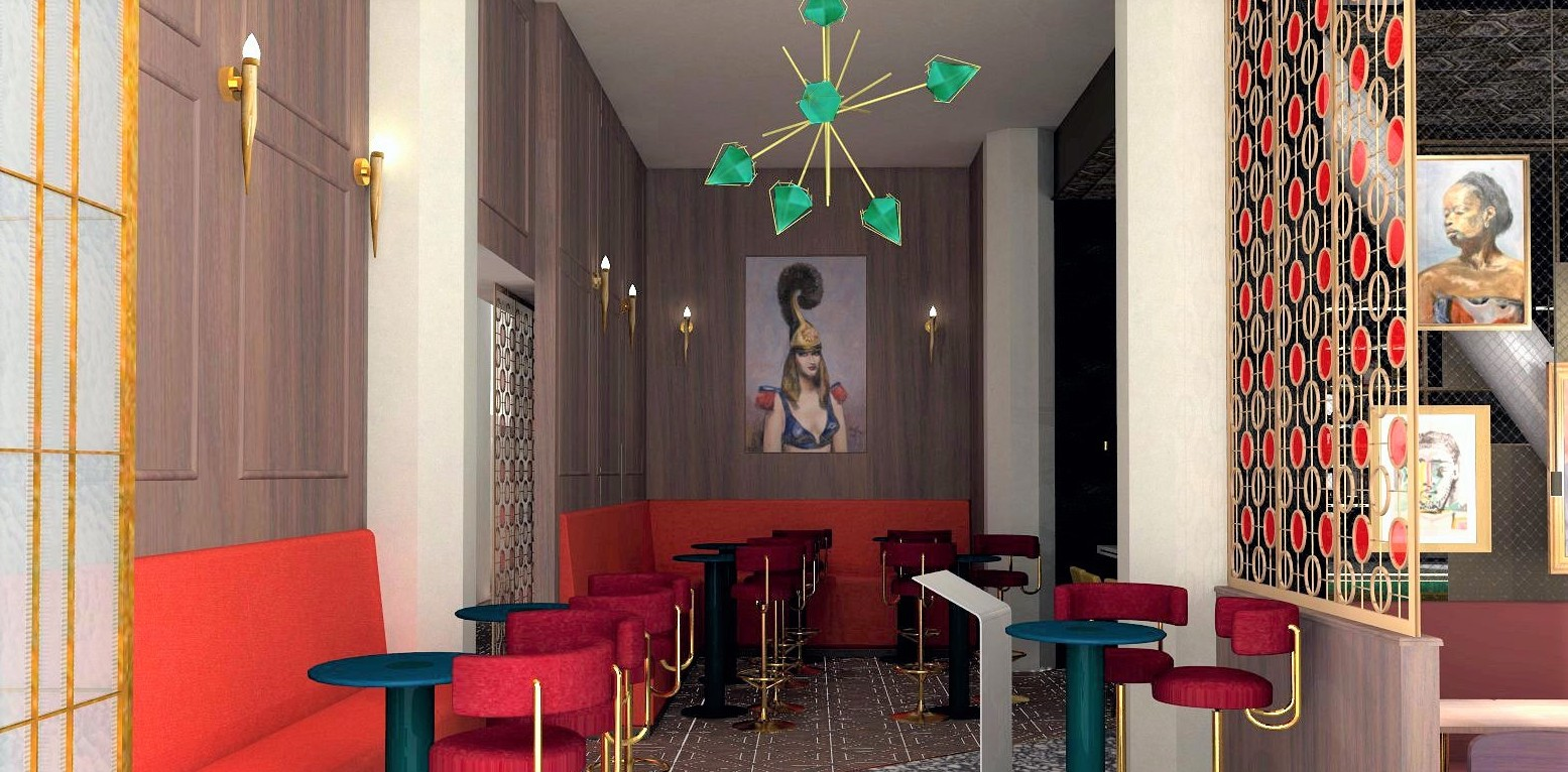Interior designer Whitney Johnson pulled colors straight from the restaurant's menu (green for basil, red for marinara) for the color palette. (Rendering courtesy of MTA Hospitality)