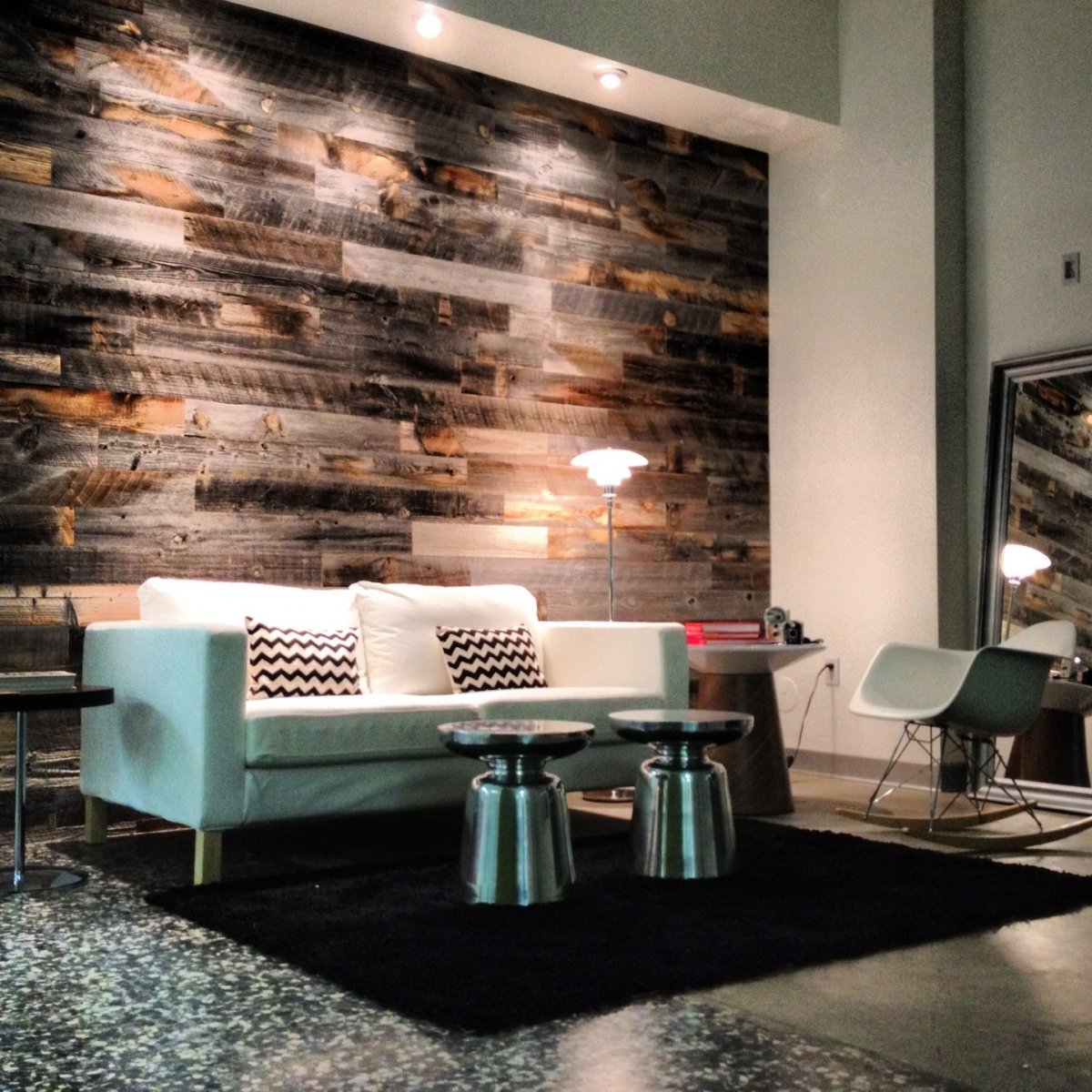 Stikwood adds a warm touch to the walls of the Franklin Pictures production company's office in midtown. (Courtesy of Franklin Pictures)
