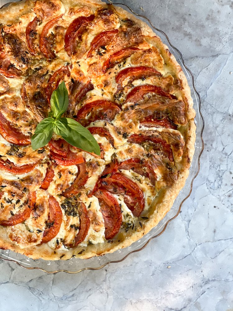 A tomato and cheese tart with herbed olive oil (Photo by Penny Sylvia)