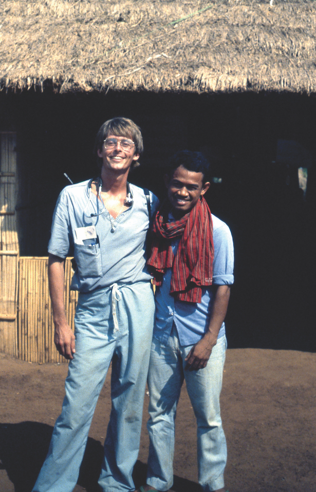 Wintemute in 1981 at a Cambodian refugee camp with Pol Ham, then an attorney who went on to become the vice president of the Cambodia National Rescue Party (Photo courtesy of Garen Wintemute)