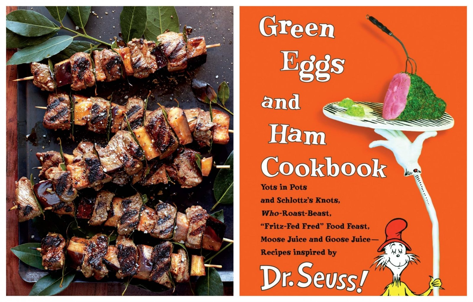 "From left: Skewers of eggplant and spring peppers with fresh bay leaves from Georgeanne Brennan's ""La Vie Rustic""; Her ""Green Eggs & Ham Cookbook"" also includes whimsical recipes for Schlottz's Knots and Pink Yink Ink Drink (Photos courtesy of Georgeanne Brennan)"