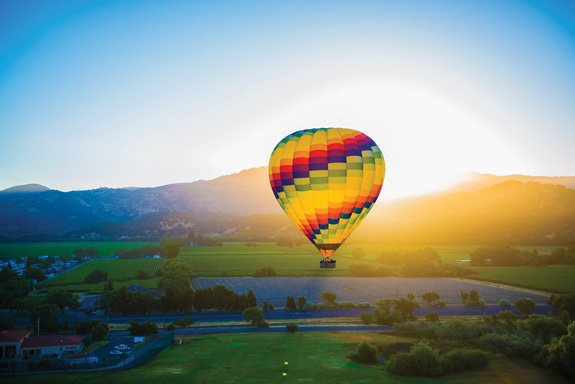 Early to rise: Jump-start your morning with an eye-opening hot-air balloon ride over Napa Valley. (Photo courtesy of Napa Valley Balloons)