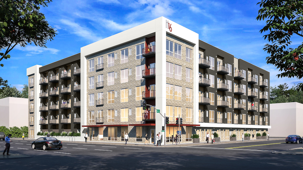 H16 Apartments, owned by SKK Developments, will open in mid-March with 95 studio and one- and two-bedroom apartments. (Rendering by C2K Architecture)
