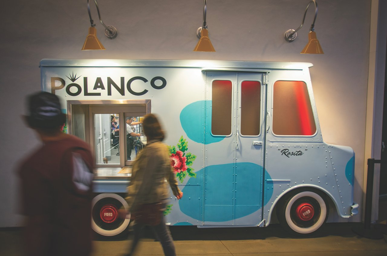 Polanco's food-truck-style takeout window will have a proprietary computerized ordering system.