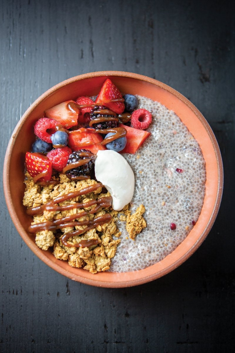 Dessert for breakfast: The mixed berry chia pudding with sunflower butter granola, a dollop of cashew cream and a dark chocolate drizzle