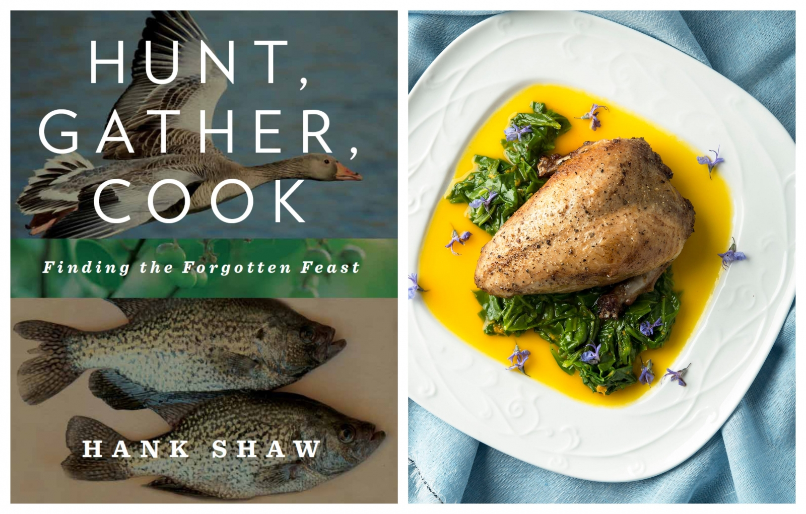"From left: Hank Shaw's ""Hunt, Gather, Cook"" is a primer on how to live off the land; a recipe for partridges in his 2018 cookbook ""Pheasant, Quail, Cottontail"" features a vibrant orange-saffron sauce. (Photos_book cover courtesy of Hank Shaw; pheasant by Holly A. Heyser)"