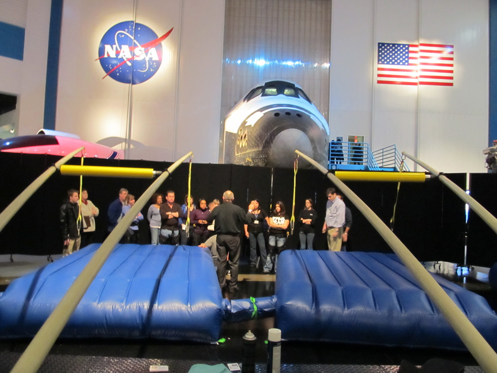 Visitors get ready to have a fly time on an Extreme Engineering air jumper at NASA's Space Center Houston. (Courtesy of Extreme Engineering)