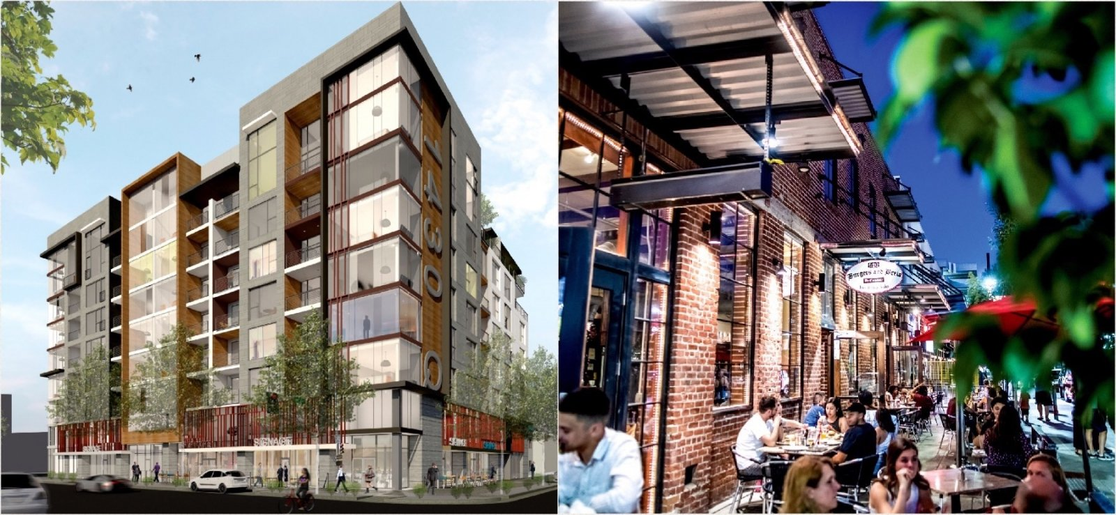 A few examples of placemaking projects by D&S Development: (top, from left) 1430 Q, an 8.5-story mixed-use complex, is rising across from Fremont Park; the company's development of the Perfection Bakery structure in the late aughts helped kick-start R Street's renaissance; (bottom, from left) 16 Powerhouse, the LEED Gold-certified mid-rise at 16th and P, sold for $32.5 million in March; in 2011, D&S worked with CFY to complete a thoughtful renovation of the historic Maydestone apartment building at 15th & J, adding 32 affordable housing units to the urban core (1430 Q courtesy of D&S Development; all other photos by Nicholas Wray)
