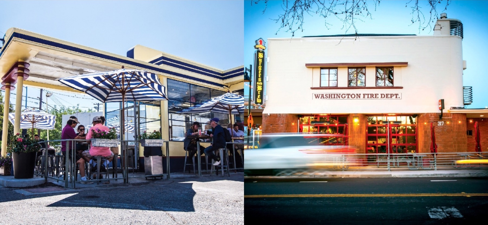 From left: D&S converted a gas station outside East Sacramento into Tako Korean BBQ in 2012; the rehabbed Washington Firehouse in West Sacramento is home to a Burgers & Brew and Station 1 jazz club (Tako photo by Nicholas Wray; Firehouse by Jeremy Sykes)