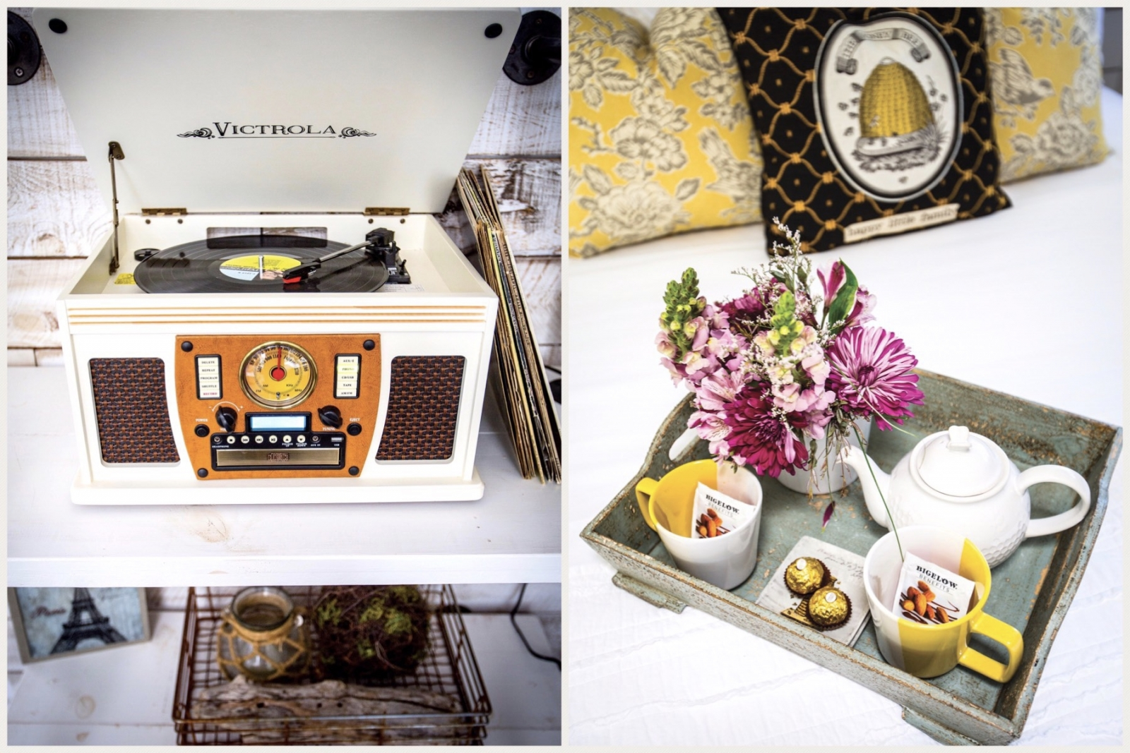 From left: Put a Frank Sinatra record on the vintage-style Victrola turntable; a rustic welcome tray with chocolate-almond herbal tea and flowers from Auburn-based mobile florist Pistil Annie