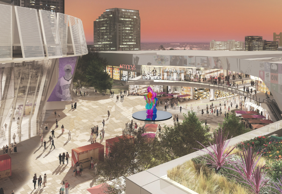 "A rendering of the Golden 1 Center plaza features ""Coloring Book"" as the space's centerpiece. (Courtesy of the Sacramento Kings)"