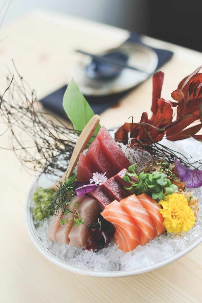 Kru's signature sashimi bowl with maguro, hamachi, salmon, albacore and sturgeon (Photo by Ryan Donahue)