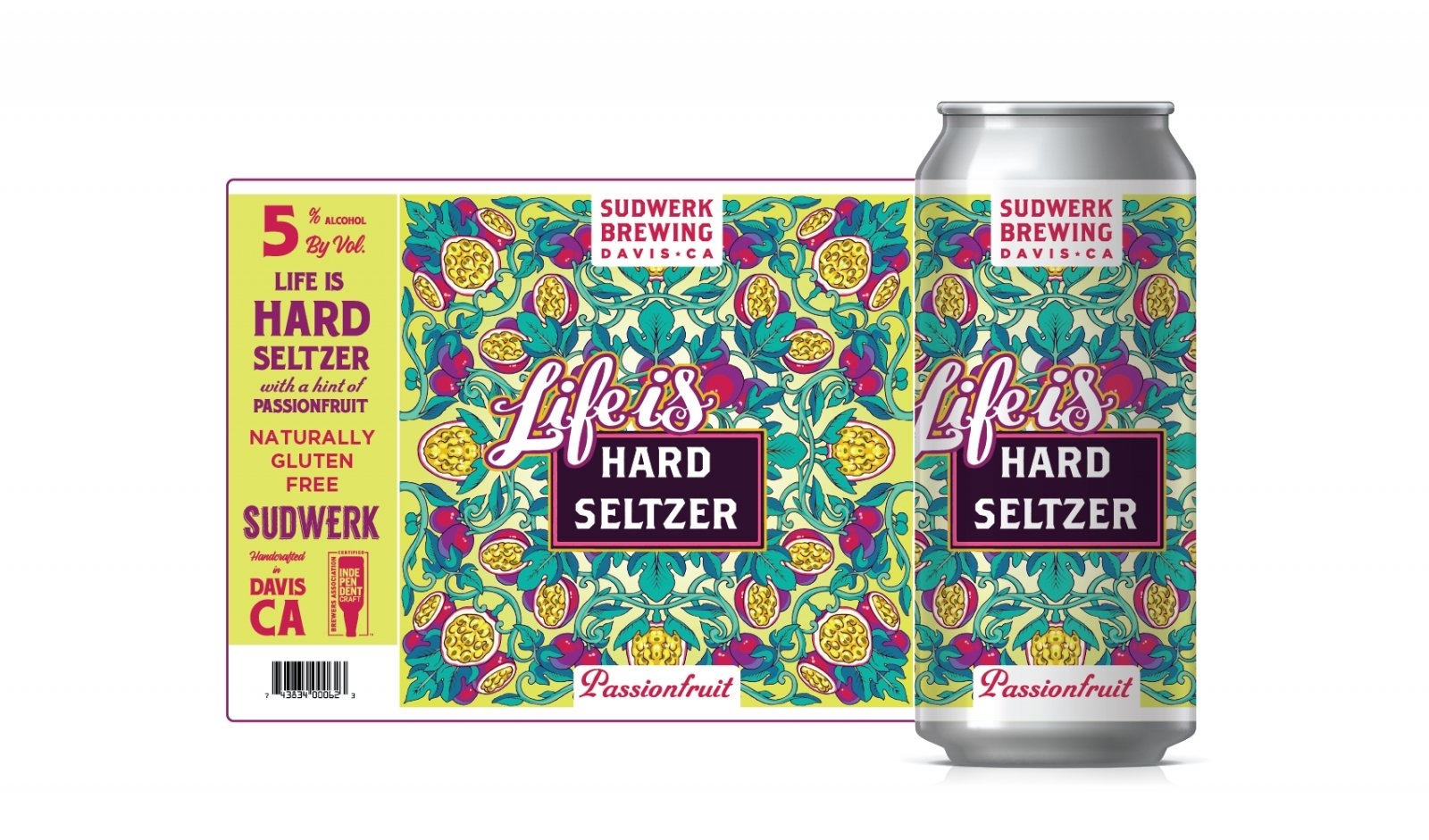 The labels for Life is Hard Seltzer are designed by Davis-based artist Gregory Schilling. (Photo courtesy of Sudwerk Brewing Co.)
