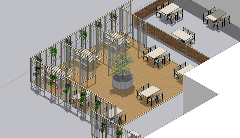 "Polycarbonate partitions divide up the outdoor dining ""room."" (Rendering courtesy of Colossus Mfg.)"