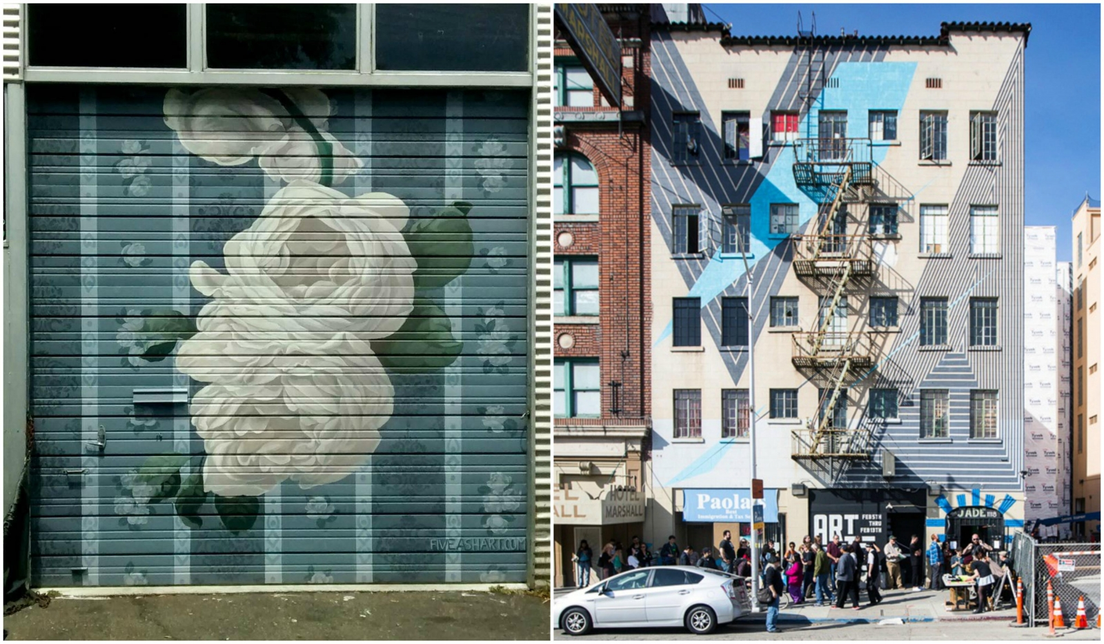 (left) A mural by Sacramento artist David Fiveash on downtown's Black Rock Automotive building; (right) The exterior of The Art Hotel by Sacramento muralist Jake Castro. Both artists will be participating in this year's Sacramento Mural Festival.